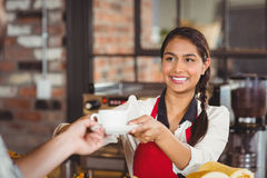 Smiling waitress serving a client Royalty Free Stock Image