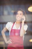 Smiling waitress talking on the phone Royalty Free Stock Images