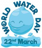 Smiling Water Drop Celebrating World Water Day, Vector Illustration. Poster with smiling water drop over watery sign in World Water Day celebration this 22nd Royalty Free Stock Photo