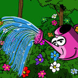 Smiling watering can Stock Images