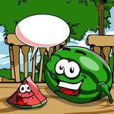 Smiling watermelon with speech bubble Stock Images