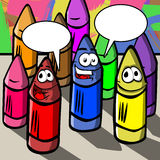 Smiling wax crayons with speech bubbles Royalty Free Stock Photography