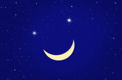 Smiling waxing moon with stars Stock Photos