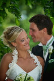 Smiling wedding couple Royalty Free Stock Images