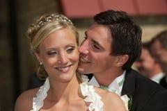 Smiling wedding couple Stock Image