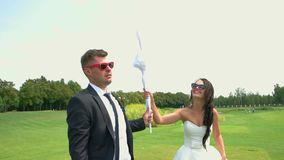 Smiling wedding couple in sunglasses. stock footage