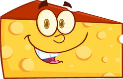 Smiling Wedge Of Cheese Cartoon Character Stock Images