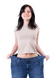 Smiling weight loss woman Royalty Free Stock Image