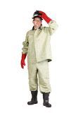 Smiling welder. Royalty Free Stock Photography