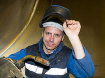Smiling welder Stock Image