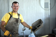 Smiling welder at work Stock Photography