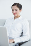 Smiling well dressed woman using laptop on sofa Royalty Free Stock Image