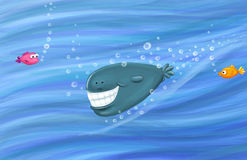 Smiling whale. Happy whale with wide white smile and surprised fish Stock Image