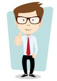 Smiling and winking cartoon business man giving Stock Photo