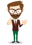 Smiling and winking cartoon business man giving Stock Images