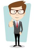 Smiling and winking cartoon business man giving Royalty Free Stock Photography