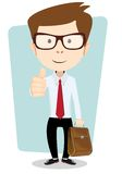 Smiling winking cartoon business man giving the Stock Photos