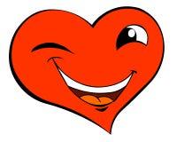 Smiling winking heart vector illustration
