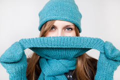 Smiling Winter Woman Stock Images
