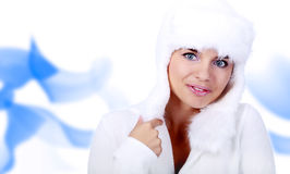 Smiling Winter Woman. blue eyes Royalty Free Stock Image