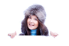 Smiling winter woman hold banner Stock Images