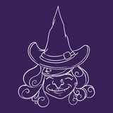 Smiling witch with Pointy Hat Inline, Vector Illustration stock images