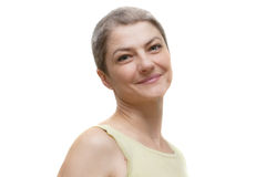 Smiling woman. Beautiful Caucasian woman with short silver hair Stock Photo