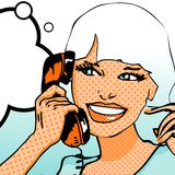 Smiling Woman. Cute Retro Smiling Woman with phone Royalty Free Stock Image