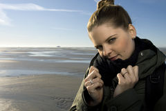 Portrait of woman beside the beach Stock Photography