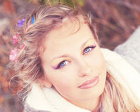 Smiling woman. Young fair hair woman's having rest and smiling Royalty Free Stock Image