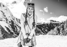 Smiling woman against mountain scenery in South Tyrol, Italy Royalty Free Stock Photography
