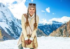 Smiling woman against mountain scenery in South Tyrol, Italy Royalty Free Stock Photos