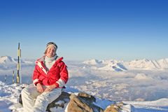 Smiling woman in Alps Stock Photography