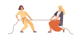 Free Smiling Woman And Angry Female Pulling Opposite Ends Of Rope Vector Flat Illustration. Two Rival Girl During Tug Of War Royalty Free Stock Image - 183610226