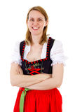 Smiling woman anticipate next oktoberfest season Royalty Free Stock Photography