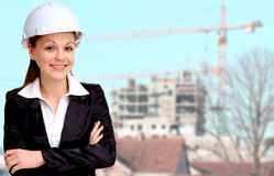 Smiling woman architect Stock Photos