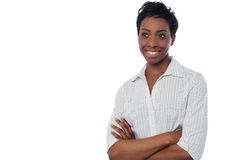Smiling woman with arms crossed Stock Photos