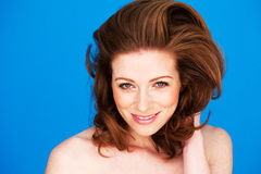 Smiling Woman With Auburn Hair Royalty Free Stock Photo