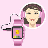 A smiling woman with an audio headset. Connected to a pink smart watch with music and battery info icons on the display panel on a pink background, digital royalty free illustration