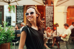 Smiling Woman on the Background of European Old Town Street. Lju Stock Photos