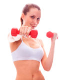 Smiling woman with barbells Royalty Free Stock Photos