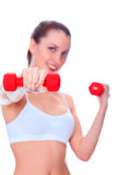 Smiling woman with barbells Royalty Free Stock Photo