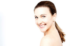 Smiling woman with bare shoulders Royalty Free Stock Images