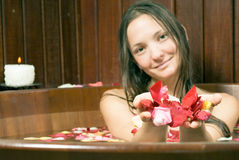 Smiling Woman Bathing in Flowers - Horizontal Stock Photos