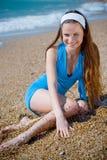 Smiling woman at beach Stock Photo