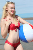 Smiling Woman with a Beach Ball Stock Photo