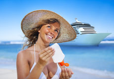 Smiling woman beach Relaxing Travel Concept Royalty Free Stock Photos