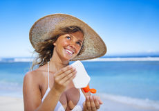 Smiling Woman Beach Summer Relax Vacation Concept Stock Image