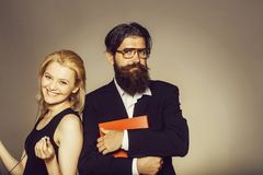Smiling woman and bearded man Stock Images