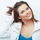 Smiling woman beautiful face portrait. Stock Photos